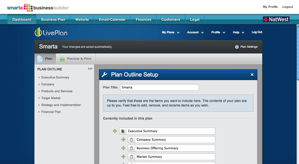 Business Plan SmallBusinessycom - Liveplan business plan template